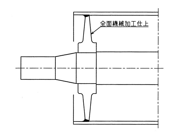 ボス・鏡板一体構造(シェル・鏡板の溶接を避けた構造)